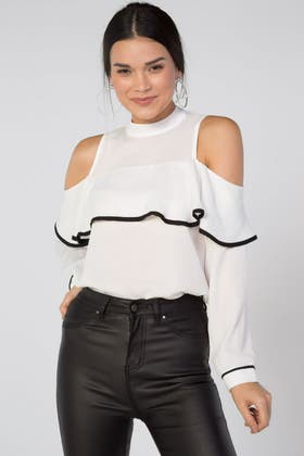 IVORY RUFFLE TIPPING COLD SHOULDER BLOUSE