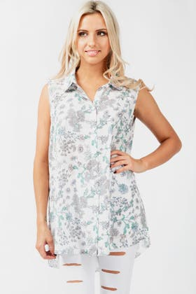 IVORY SKETCH FLORAL WOVEN SHIRT