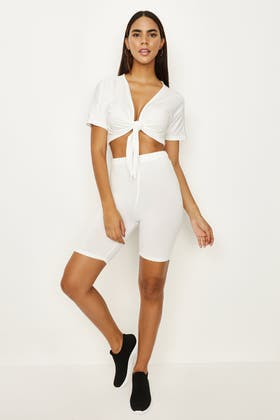 IVORY TIE FRONT TOP & CYCLING SHORT SET