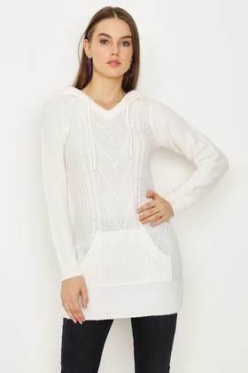 IVORY CABLE DETAIL HOODED TUNIC