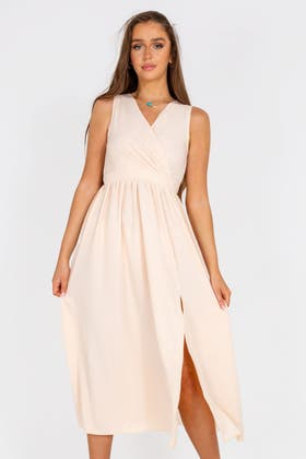 IVORY Wrap Waist Split Thigh Maxi Dress