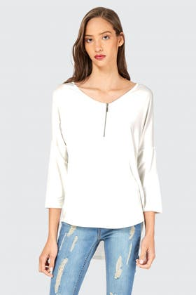 IVORY ZIP FRONT LONG SLEEVE