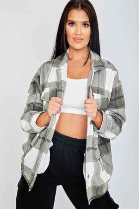 KHAKI Classic Thick Colour Block Checked Shirt Jacket Shacket