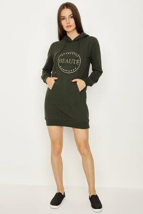 KHAKI EMBOSSED BEAUTE HOODIE SWEAT DRESS