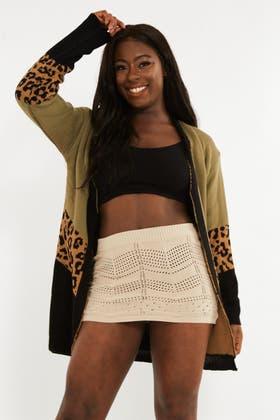 KHAKI Knitted Leopard Cardigan