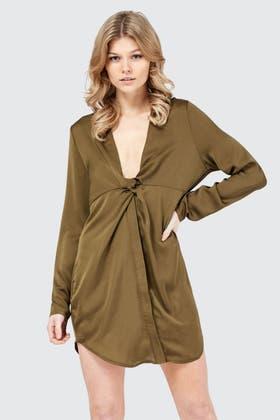 KHAKI KNOT FRONT SHIRT DRESS