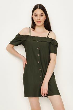 KHAKI LINEN BARDOT DRESS