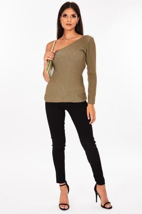 KHAKI One Shoulder Knitted Jumper