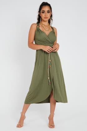 KHAKI Strappy Midi Dress With Tie Detail