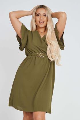 KHAKI Wrap Mini Dress With Gold Buckle Detail