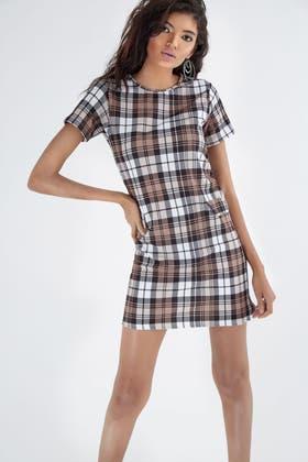 LATTE CHECK PRINT CREPE SHIFT DRESS
