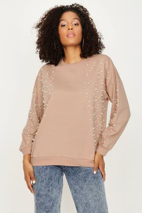 LATTE SCATTERED PEARL AND DIAMANTE SLEEVE SWEAT