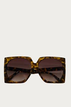 LEOPARD Acrylic Polygon Shape Sunglasses