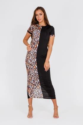 LEOPARD Half Print Maxi Dress