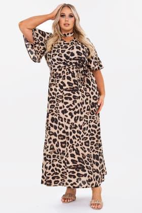 LEOPARD Plus Leopard print maxi dress with halter neck