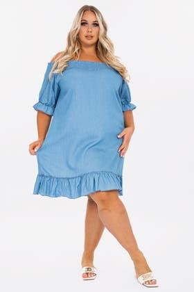 LIGHT BLUE Bardot puff sleeve dress