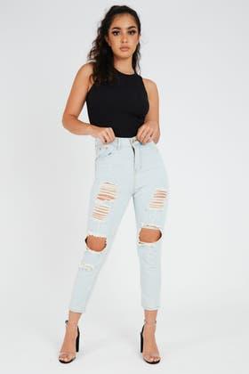 LIGHT BLUE High Waisted Distress  Jeans