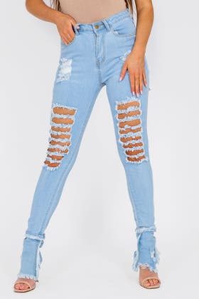 LIGHT BLUE High Wasited Flare Ripped Jeans