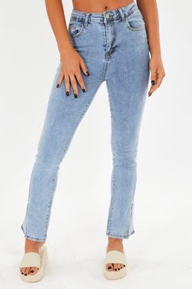 LIGHT BLUE Split hem twisted jeans