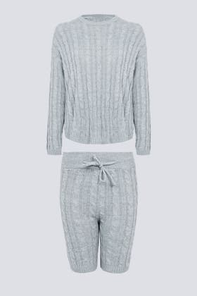 LIGHT GREY Cable Knitted Top And Short Set