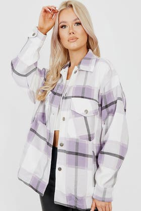 LILAC Classic Thick Colour Block Checked Shirt Jacket Shacket