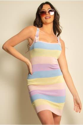 LILAC Rainbow Buckle Strap Detail Midi Dress