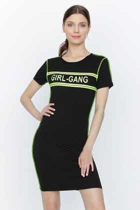 LIME GIRL GANG NEON BODYCON DRESS