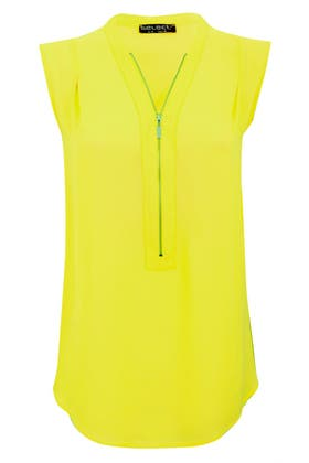 LIME ZIP FRONT OVERSIZED BLOUSE