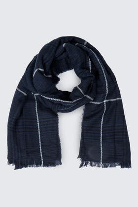 NAVY LINEAR CHECK SCARF