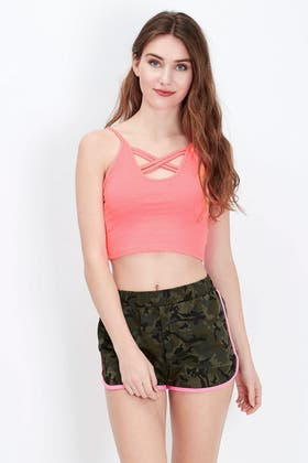 LIVING CORAL CROSS STRAP FRONT CAMI