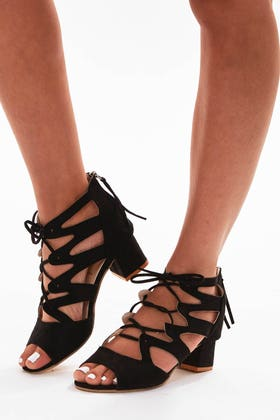 BLACK STRAPPY LACE UP BLOCK HEEL SANDALS