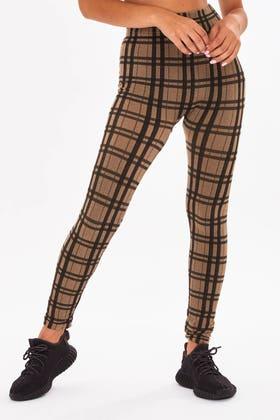 BROWN  Skinny stretch checkered leggings
