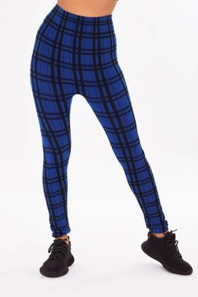 BLUE  Skinny stretch checkered leggings