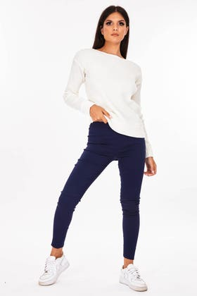 BLUE Highwaisted stretch jeggings with thick waist band