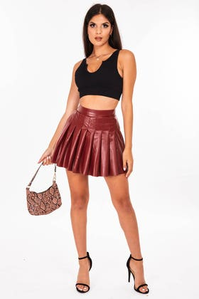 WINE Faux Leather Mini Pleated skirt
