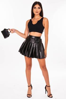 BLACK Faux Leather Mini Pleated skirt