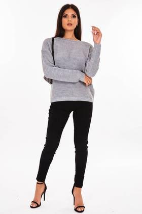 GREY Slash neck knitted jumper