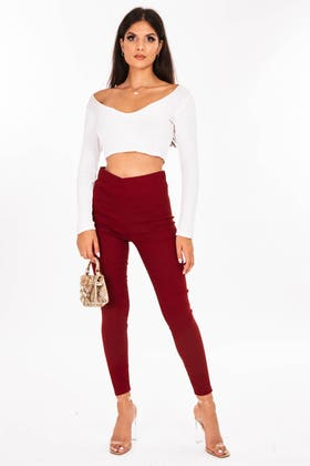 RED Highwaisted stretch jeggings with thick waist band