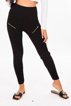 BLACK Black highwaisted leggings with zip details