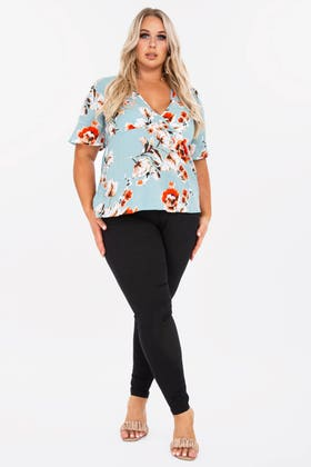 BLACK PLUS HIGH WAISTED SKINNY JEANS WITH BUTTON AND ZIP