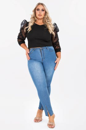 MIDWASH PLUS SKINNY JEANS WITH ZIP DETAILING