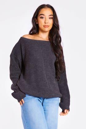 CHARCOAL Slash neck knitted jumper