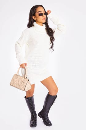 IVORY ROLL NECK WAFFLE KNIT JUMPER
