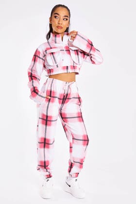 DUSTY PINK CHECK ZIP UP CROP JACKET AND JOGGERS CO-ORD