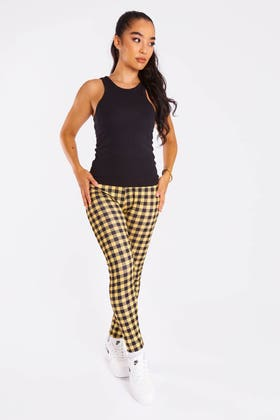 YELLOW Checkered High Waisted Leggings