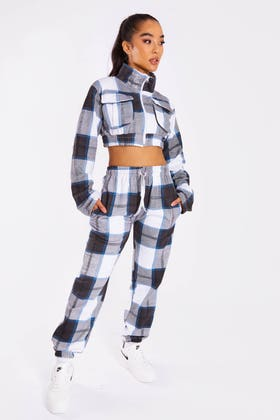NAVY CHECK ZIP UP CROP JACKET AND JOGGERS CO-ORD
