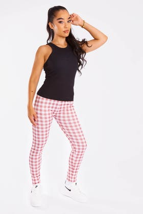PINK Checkered High Waisted Leggings