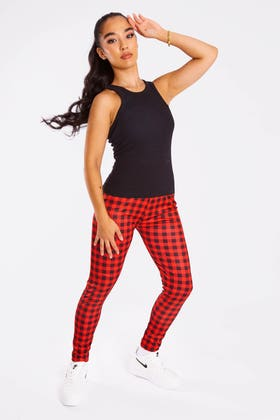 RED Checkered High Waisted Leggings