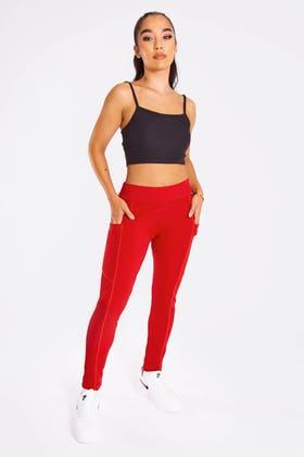 RED High Waisted Gym Leggings