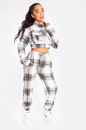 KHAKI CHECK ZIP UP CROP JACKET AND JOGGERS CO-ORD